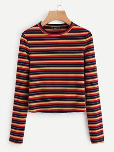 To find out about the Colorful Striped Ribbed Tee at SHEIN, part of our latest T-Shirts ready to shop online today! Striped Long Sleeve Shirt, Striped Tee, Long Sleeve Shirts, Latest T Shirt, Striped Fabrics, Pull, Shirt Sleeves, Cute Outfits, Stylish Outfits
