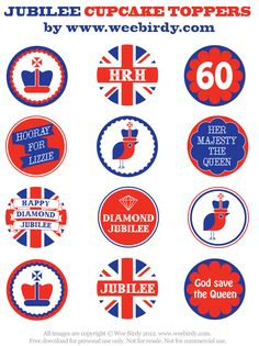 FREE Jubilee cupcake topper printables from Wee Birdy.