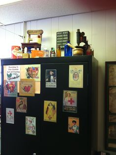 Take pictures of the internet of vintage nursing, laminate them and tape them to the cabinet to cover up flaws in the paint. The top of the cabinet displays some more vintage medical collection. School Nurse Office, I School, School Nursing, School Ideas, Great Minds Discuss Ideas, Education Requirements, Magic School Bus, Nursing Programs, Vintage Medical