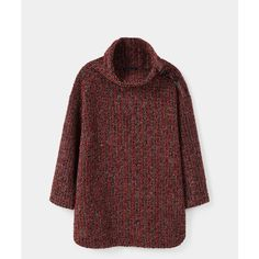 Violeta BY MANGO Alpaca Wool-Blend Sweater ($100) ❤ liked on Polyvore featuring tops, sweaters, red sweater, rollneck sweaters, roll neck sweater, long sleeve sweater and long sleeve tops