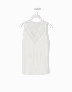 Lefties - camiseta sin mangas flecos y encaje - 0-251 - 05013305-V2015
