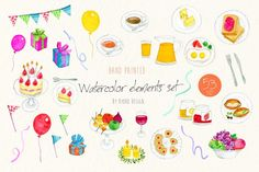 Birthday, breakfast watercolor by RyokoDesign on @creativemarket