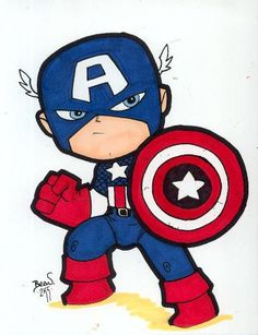 Chibi-Captain America 2 by hedbonstudios on DeviantArt Captain America Tattoo, Captain America Drawing, Captain America 2, Chibi Marvel, Marvel Art, Marvel Avengers, Cartoon Kunst, Cartoon Drawings, Cartoon Art