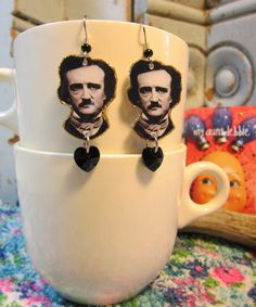 Edgar Allan Poe Earrings Never More The Raven Tell Tale Heart Melancholy Author by ilovemyauntdebbie on Etsy https://www.etsy.com/listing/120119699/edgar-allan-poe-earrings-never-more-the