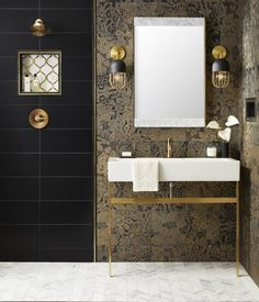 gold Bathroom Decor 6 Bathroom Trends to Try Now - - bathroomdecor Bathroom Flooring, Bathroom Faucets, Small Bathroom, Master Bathroom, Guest Bathrooms, Ensuite Bathrooms, Downstairs Bathroom, Mosaic Wall Tiles, Wall And Floor Tiles
