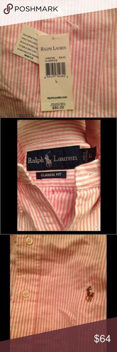 NWT Ralph Lauren classic button LS collar shirt L NWT AUTH Ralph Lauren brand classic fit pink white pinstripe long sleeve button up collared shirt MENS SZ L $85 made in Philippines Ralph Lauren Shirts