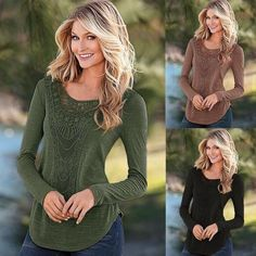 Fashion Women Long Sleeve Lace Patchwork Casual Slim Blouse Tops