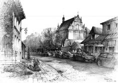 Another drawing from Kazimierz Dolny (Poland) 40x60cm, pencils