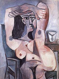 Pablo Picasso Nu assis, bras croisés sur la tête 1959