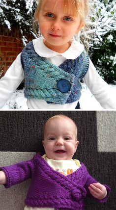 Free Knitting Pattern for Baby Bolero - Cropped cardigan sweater knit from side to side with cable trim, and with and without sleeves. Sizes 3m / 6m / 12m / 2y / 3y / 4y. Designed by Yarn-Madness. Pictured projects by Violinka and zephrbabe who knit longer sleeves and added a button made of i-cord. Available in English and Swedish.