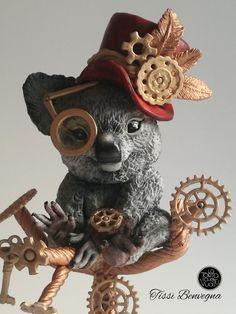 Steampunk Koala - Collaboration - cake by Tissì Benvegna Dog Cakes, Cupcake Cakes, Cupcakes, Steampunk Design, Steampunk Fashion, Burlesque Cake, Cyberpunk, Realistic Cakes, Pastry Design