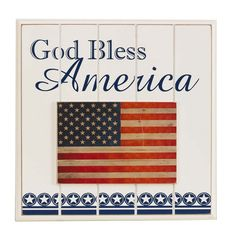 Patriotic Americana Decor - God Bless America Plaque.