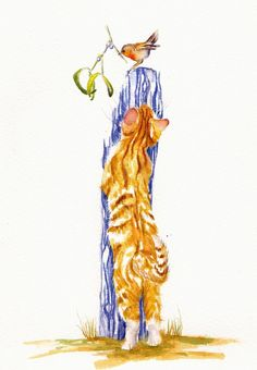 """ORIGINAL WATERCOLOUR PAINTING: GINGER CATS KITTENS FELINES: """"MISTLETOE"""". A marmalade kitten would like to get closer to a Christmas robin..."""