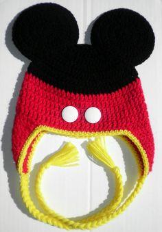 Custom crochet Mickey Mouse pants ears ear flap hat photo prop. $23.00, via Etsy.