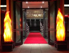 Red carpet & flame light entrance at the @brooklands_hotel for tonight's Bond theme party #007party #jamesbondtheme #bondparty #spiritshighuk #brooklandshotel