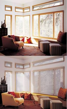 Make the beauty of natural light soft and livable with Silhouette® window shadings. ♦ Hunter Douglas window treatments #LivingRoom