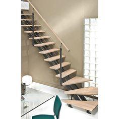 Escalier Escatwin ESCAPI, quart tournant en bois et aluminium, 14 marches