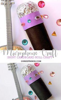 Cardboard Roll Sparkly Microphone Craft #microphone #cardboardrollcrafts #kidcrafts (sponsored)