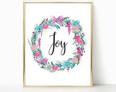 Wreath print, calligraphy print, pink christmas, christmas wall art, art print, holiday decor, joy print, teen room decor, christmas decor