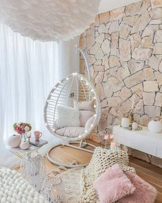 Check this 8 cheap things to maximize your small bedroom ( READ MORE ) Cute Bedroom Decor, Bedroom Decor For Teen Girls, Cute Bedroom Ideas, Room Design Bedroom, Girl Bedroom Designs, Room Ideas Bedroom, Cute Teen Bedrooms, Hanging Chair With Stand, Hammock Chair With Stand