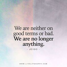 "When someone disagrees with you. | ""We are neither on good terms or bad. We are no longer anything.""—Jeigo"