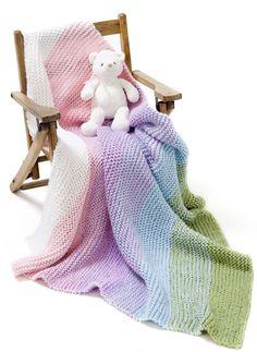 Caron yarn Gradient Garter Baby Blanket with Simply Soft yarn - one of my favorite yarns.