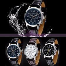 Fashion Leather Quartz Analog Business Mens Sport Army Classic Wrist Watch