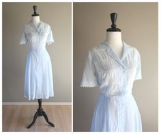 Lovely Pale Sky Blue Sheer 1940s Vintage Shirtwaist Day Dress w/ Eyelet Detail / 1950s / WWII Pinup Rockabilly VLV