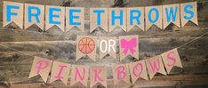 Free Throws or Pink Bows Buckets or Bows Gender Reveal Baseballs or Bows Touchdowns or Tutus Pink or Blue We Love You He or She Baby Basketball Gender Reveal, Gender Reveal Banner, Gender Reveal Party Games, Gender Reveal Shirts, Gender Reveal Party Decorations, Gender Party, Baby Shower Gender Reveal, Reveal Parties, Baby Shower Themes