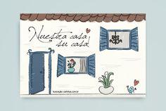"""Postal """"Nuestra Casa Su Casa"""" para o evento de inauguração dos ateliês da dupla Gabi Back e Shirley Yañez.  Mais em www.carinhas.com.br/projetos"""