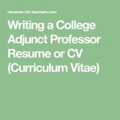 Adjunct Professor Sample Resume Resume Builder