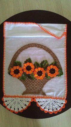Pano de prato em croche cesto de flores   Ateliê Silvia Rosa   Elo7