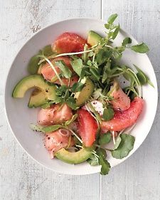 Grapefruit, Salmon, and Avocado Salad - reduce the amount of olive oil with the salad dressing.
