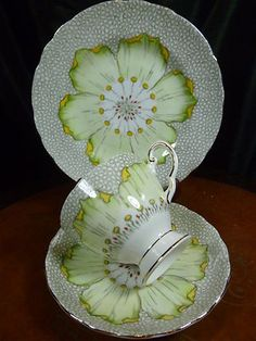 TUSCAN VINTAGE FANCY TEACUP AND SAUCER trio LUSH LARGE H.P. BLOSSOM ENAMEL TRIM