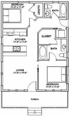 Garage Plans, Shed Plans, House 2, 2 Bedroom House Plans, Small House Floor Plans, Small Room Design, Shed Homes, Tiny Homes, The Doors