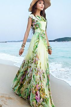 Fashion Elegant Big Flower Bohemian Maxi Dress Maximum Style