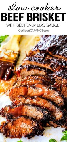 """Wonderfully juicy, flavor exploding, melt-in-your-mouth Slow Cooker Beef Brisket. Wonderfully juicy, flavor exploding, melt-in-your-mouth Slow Cooker Beef Brisket is my favorite meat dish EVER and """" Slow Cooker Barbecue Ribs, Slow Cooker Brisket, Barbecue Sauce, Beef Brisket Recipes Crockpot, Crock Pot Brisket, Best Ever Brisket Recipe, Crockpot Beef Recipes, Beef Barbecue, Bbq Brisket"""