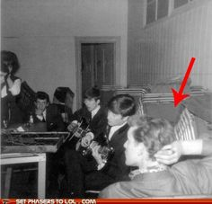 "The Doctor is REAL!!!    ""An old picture of a Beatles jam session contains a man who looks almost exactly like Matt Smith's Doctor. It makes perfect sense when you think about it. If I had a box that gave me access to all of time and space, chilling with the Beatles would be pretty high up on my list of things to do.     Steven Moffat is pretty excited about the photo too.    ""Bloody hell!!!"" He tweeted, ""Clearly we're going to make that"""""