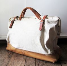 Rustic Leather and Canvas Bag - via Etsy.
