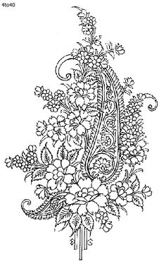 Indian Saree - Textile Patterns & Embroidery Designs 2 - Paisley and Roses Cotton Hand Embroidery Designs, Embroidery Art, Embroidery Patterns, Jacobean Embroidery, Lace Patterns, Textile Patterns, Stencil Patterns, Fabric Rug, Fabric Painting