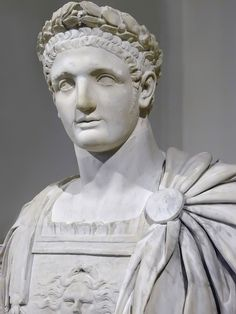 Bust of the Roman Emperor Domitian, 1st century AD, Marble, currently located at the Lourve, France.