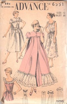 Advance 6551 1950s Misses Feminine Sleeveless Nightgown Puff Sleeve Robe  Back Panel Pattern Womens Vintage Sewing Pattern Size 12 Bust 30 d3eec6ce5