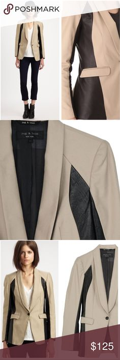 •Rag & Bone• Jefferson Leather Trim Blazer Rag & Bone Black and Tan Leather Trim Jefferson Blazer in Great Used Condition. Curves Contrast Panels of Soft Leather Give this Jacket an Edge of Tailored Cool, Streamlining the Sleeves and Sides to Contoured Effect. the Shawl Collar Tapers into the Single Button Placket, and Flap Front Pockets Sit at Either Side. the Vented Black Hem and Single Button Cuffs Finish the Look. Lined. Small Mark on Left side of chest. When Laying Flat: Bust Measures…