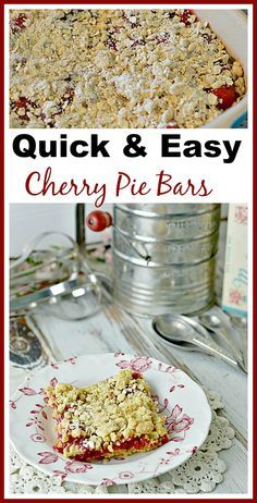 Quick & Easy Cherry Pie Bar Recipe. Moist and delicious! This dessert recipe only uses 4 ingredients!