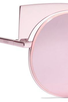 Fendi - Cat-eye Metal Mirrored Sunglasses - Pink - one size