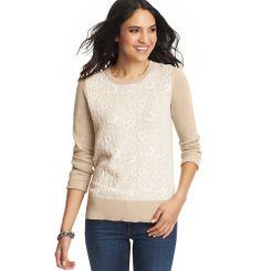 Petite Lace Jacquard Cotton Sweater | Loft | Petite Small