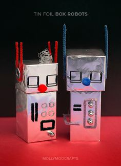 Aluminum Foil Robot Craft For Kids - turn cardboard boxes into shiny cool robots in just a few steps // MollyMooCrafts.com