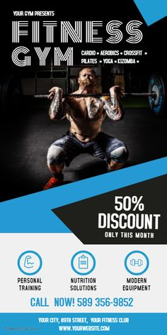 Customize fitness roll up banner × templates Fitness Flyer, You Fitness, Gym Banner, Graphic Design Layouts, Layout Design, Rollup Banner, Workout Posters, Gym Design, Banner Printing