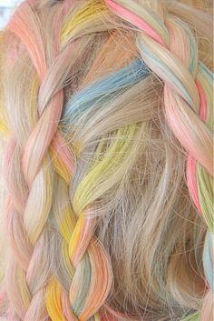 Pretty sure this is actual mermaid hair. Pretty sure this is actual mermaid hair. Pastel Highlights, Rainbow Highlights, Lady Lovely Locks, Candy Hair, Platinum Blonde Hair, Coloured Hair, Rainbow Hair, Rainbow Braids, Rainbow Pastel
