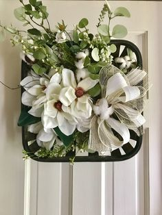 Magnolia Basket Wall Hanging- by on Etsy Fall Wreaths, Christmas Wreaths, Easter Wreaths, Diy Wreath, Grapevine Wreath, Tobacco Basket Decor, Do It Yourself Crafts, Basket Decoration, Baskets On Wall